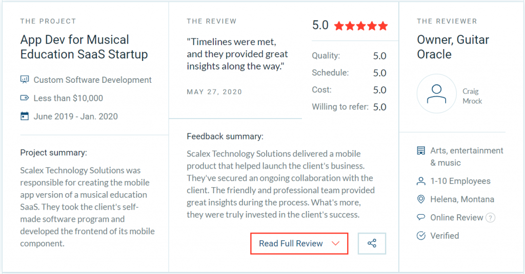 client reviews - things to consider when choosing an app development company